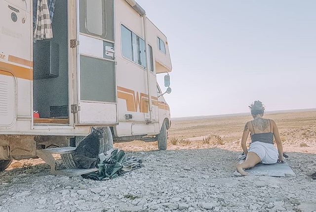 Doing yoga and meditating in the desert have really been inspiring. We've been following the tutorials from  @alo.moves . It seems like the further West we go, the more we are being pulled towards an energy that resonates with us.  We can't wait to discover what lies ahead for us on our path.  The Whisper is getting stronger.