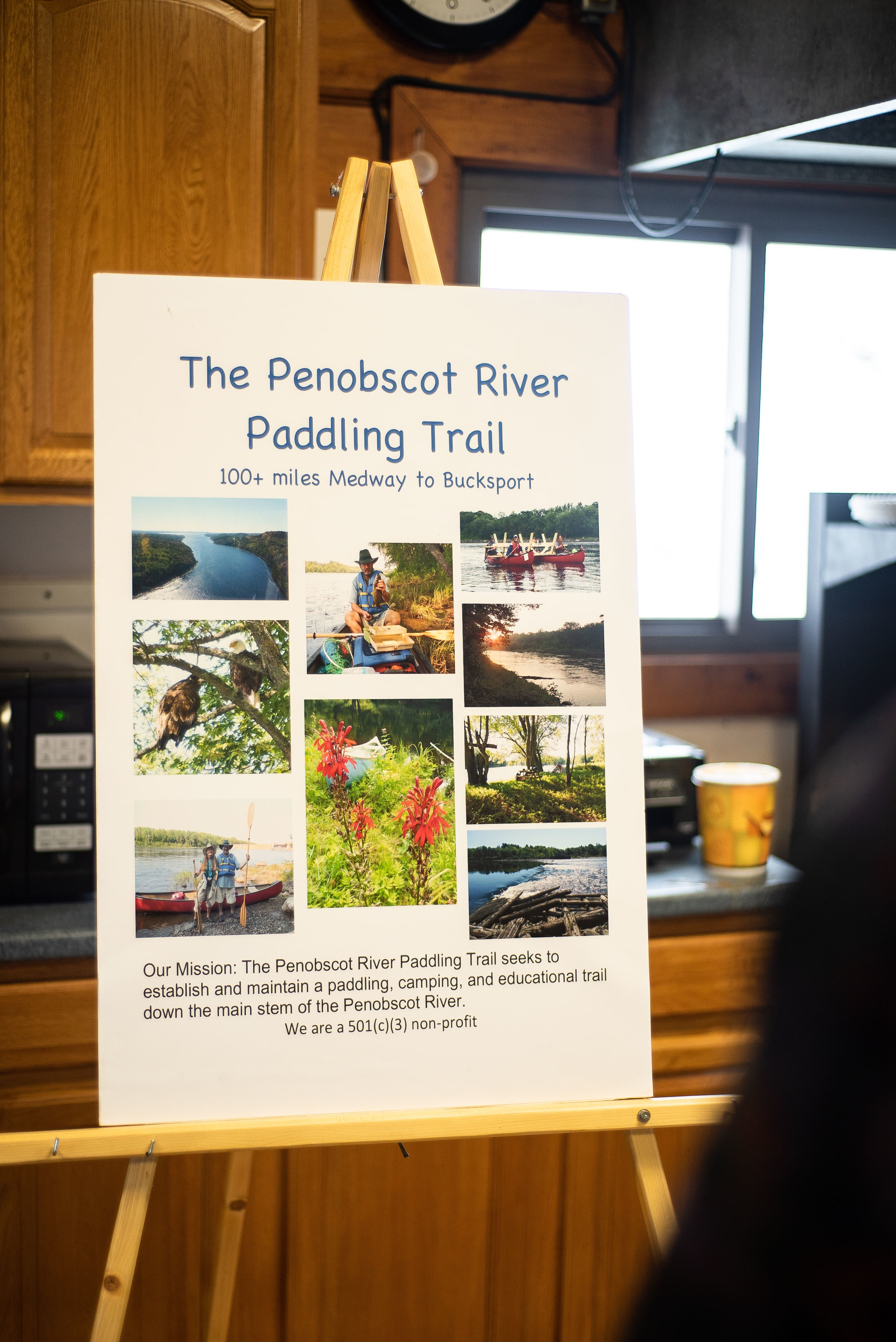 Welcome signage and mission statement for the Penobscot River Paddling Trail (PRPT). Photo: Chris Battaglia