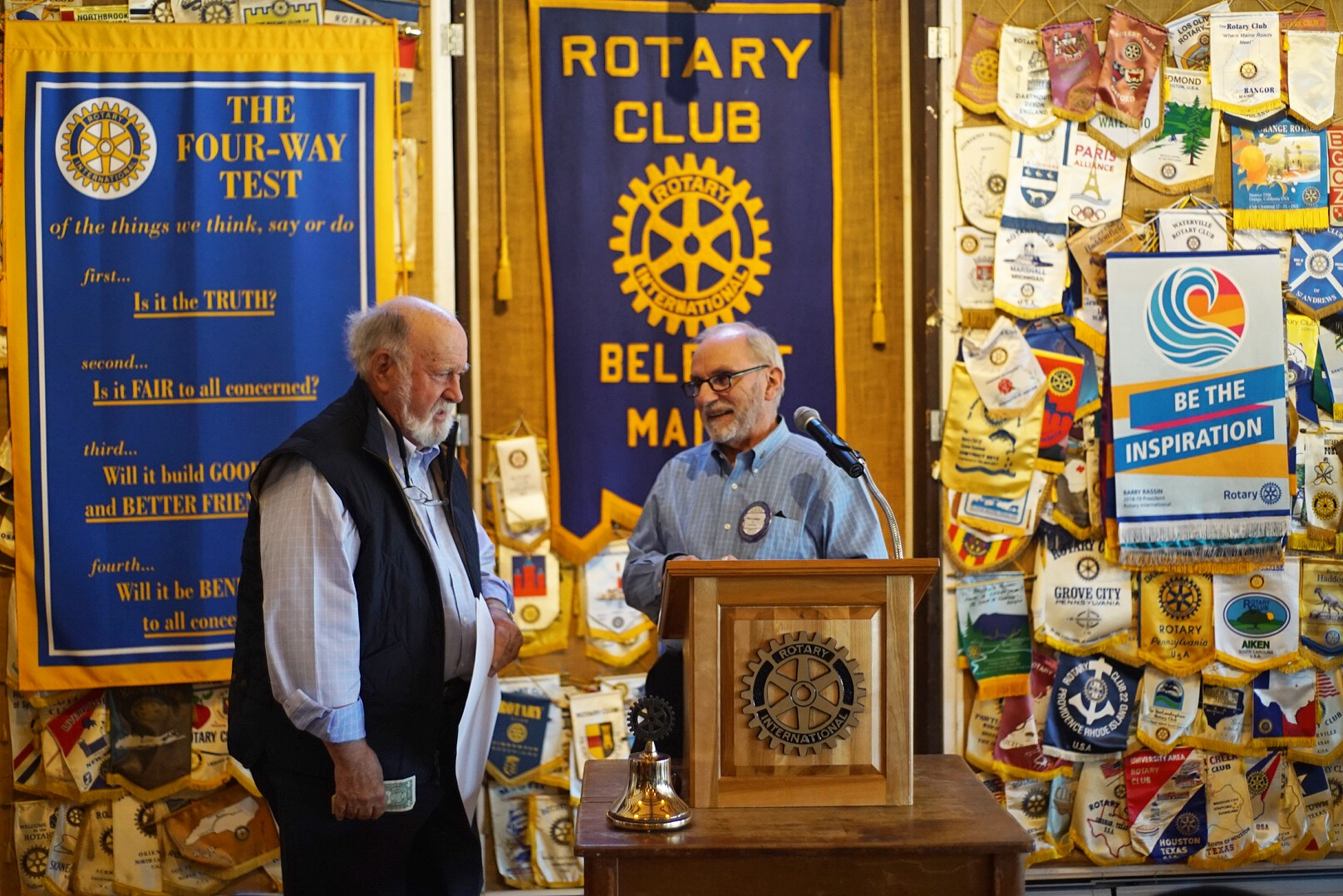 Duke and Phil at the Belfast Rotary Club meeting. Every Wednesday at the Waldo County Shrine Club. Photo: Chris Battaglia