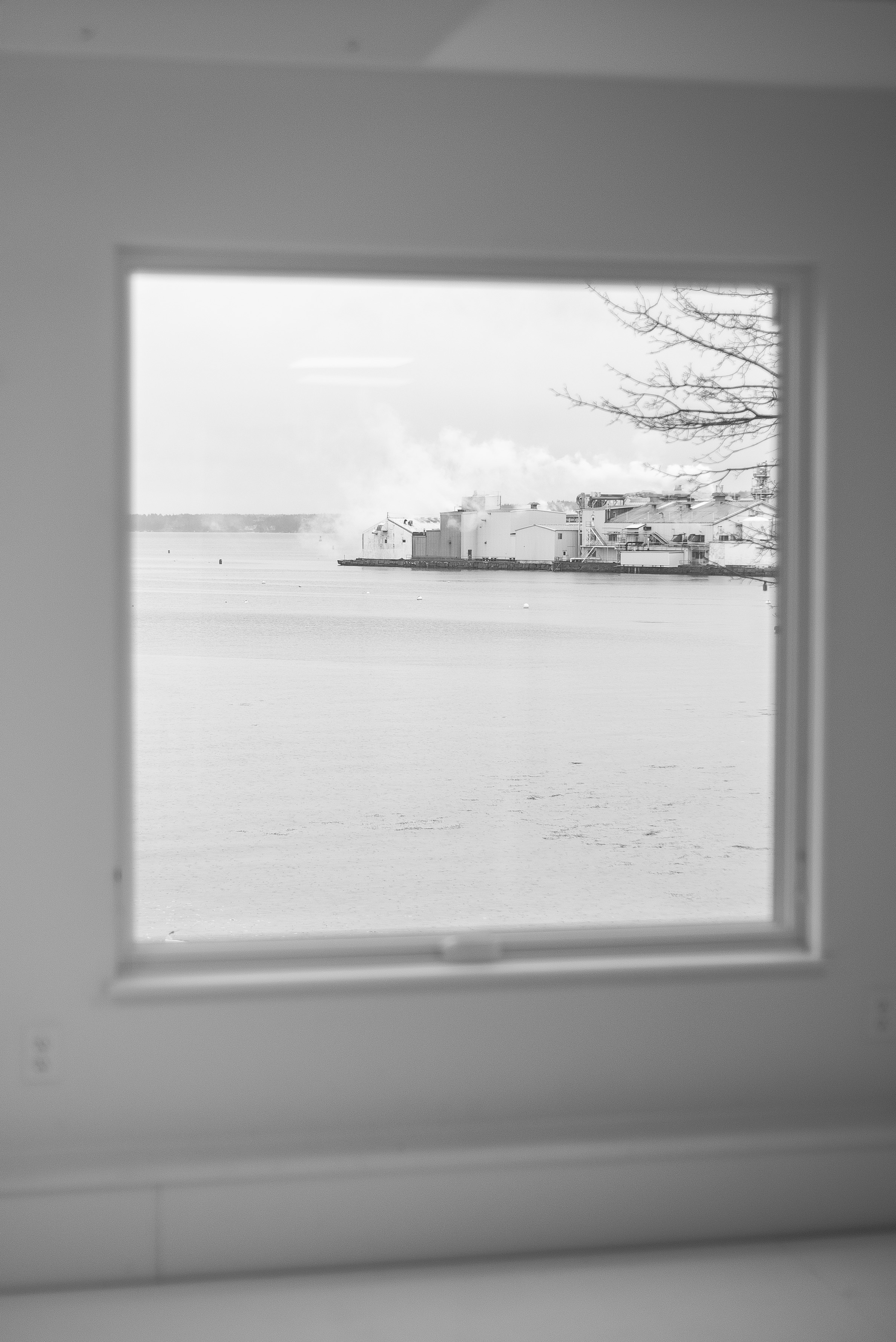 Rockland harbor right out of the windows in the basement of Steel House South. Not a bad place to loft a boat. Photo: Chris Battaglia