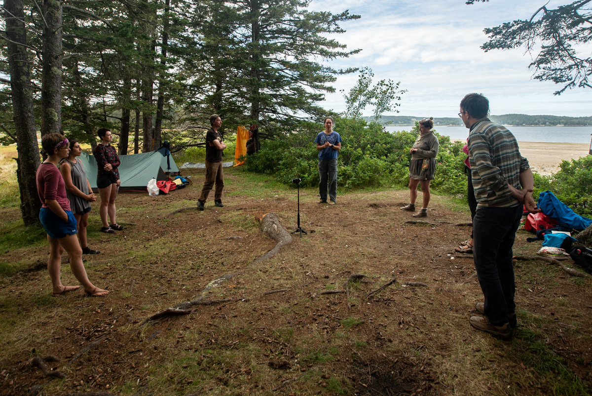 Here, Matea Mills-Andruk leads a movement/dance workshop on Pond Island.