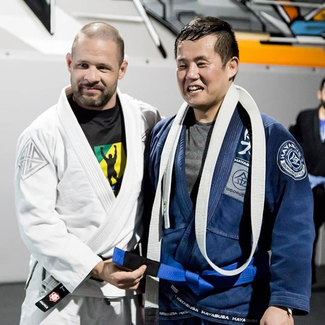 """Actual transcript from this momment in time: Paul """"I think I'm going to cry"""" Professor """"save it for your black belt""""  Congrats Paul!!!💥 #bjjbluebelt #bjj #TORONTO #Torontolife #bjjlifestyle #bjjfamily"""