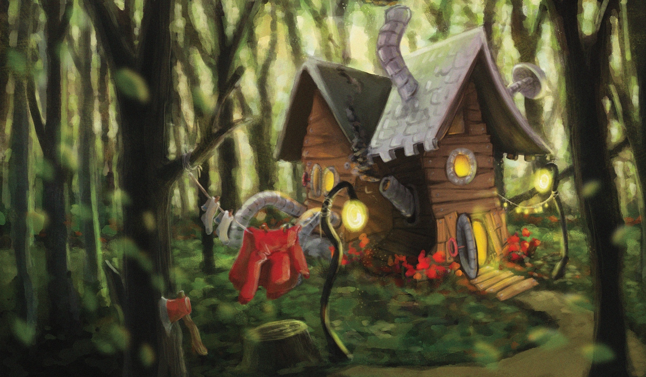 Red Riding Hood's Cabin   Digital, Photoshop.  An illustration re-imagining the set design for Little Red Riding Hood. In this world, she is a mechanic and inventor.   © Copyright Camille Codling 2018