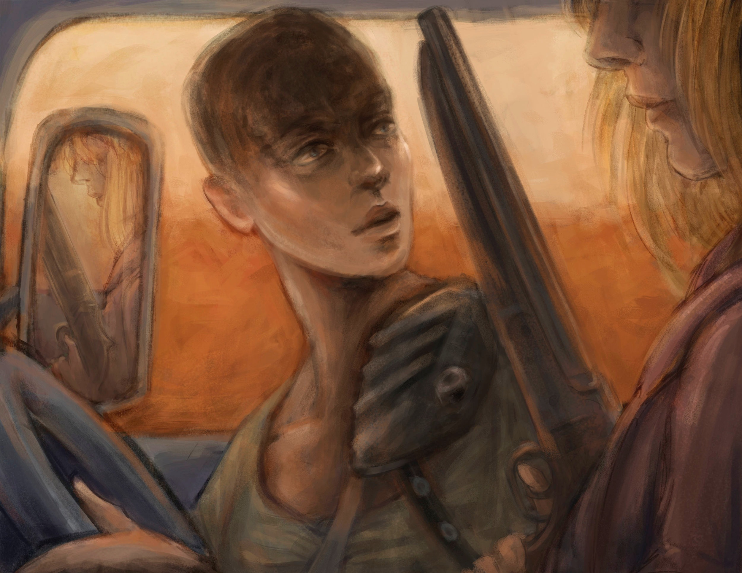 Furiosa   Digital, Procreate, Photoshop  Part of a thesis project on how individuals hardships can pave the way for their eventual successes.  This image illustrates actress Charlize Theron and how the death of her father by her mother's hand allowed her to leave home and pursue her career.   © Copyright Camille Codling 2018