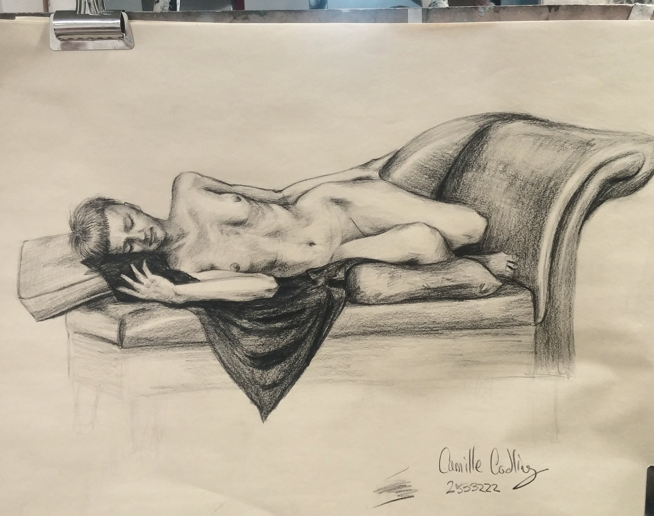 untitled   Graphite on newsprint  3 hour life drawing session.   © Copyright Camille Codling 2018
