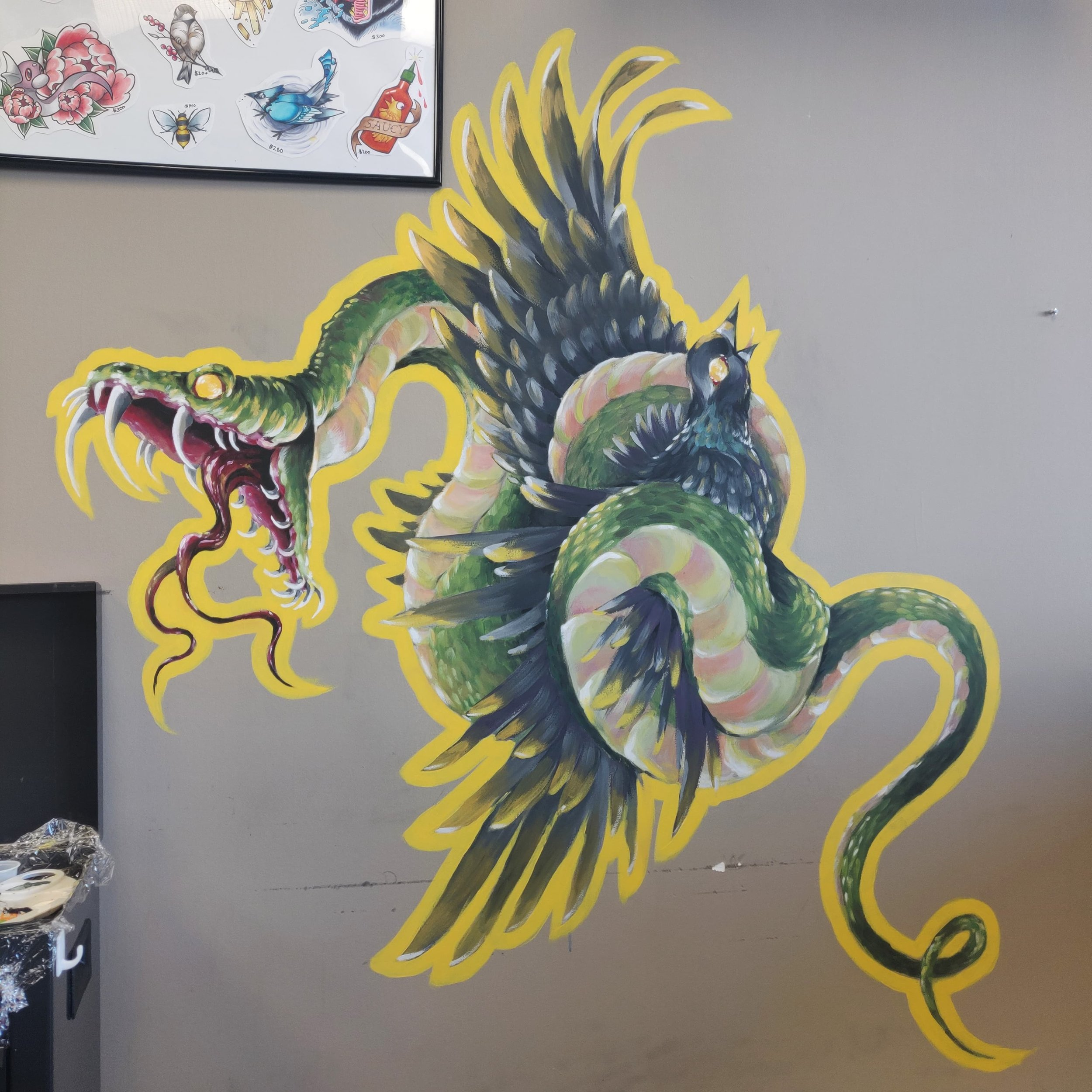 Mural   Craft paint  Mural created to liven up the workplace area.   © Copyright Camille Codling 2019