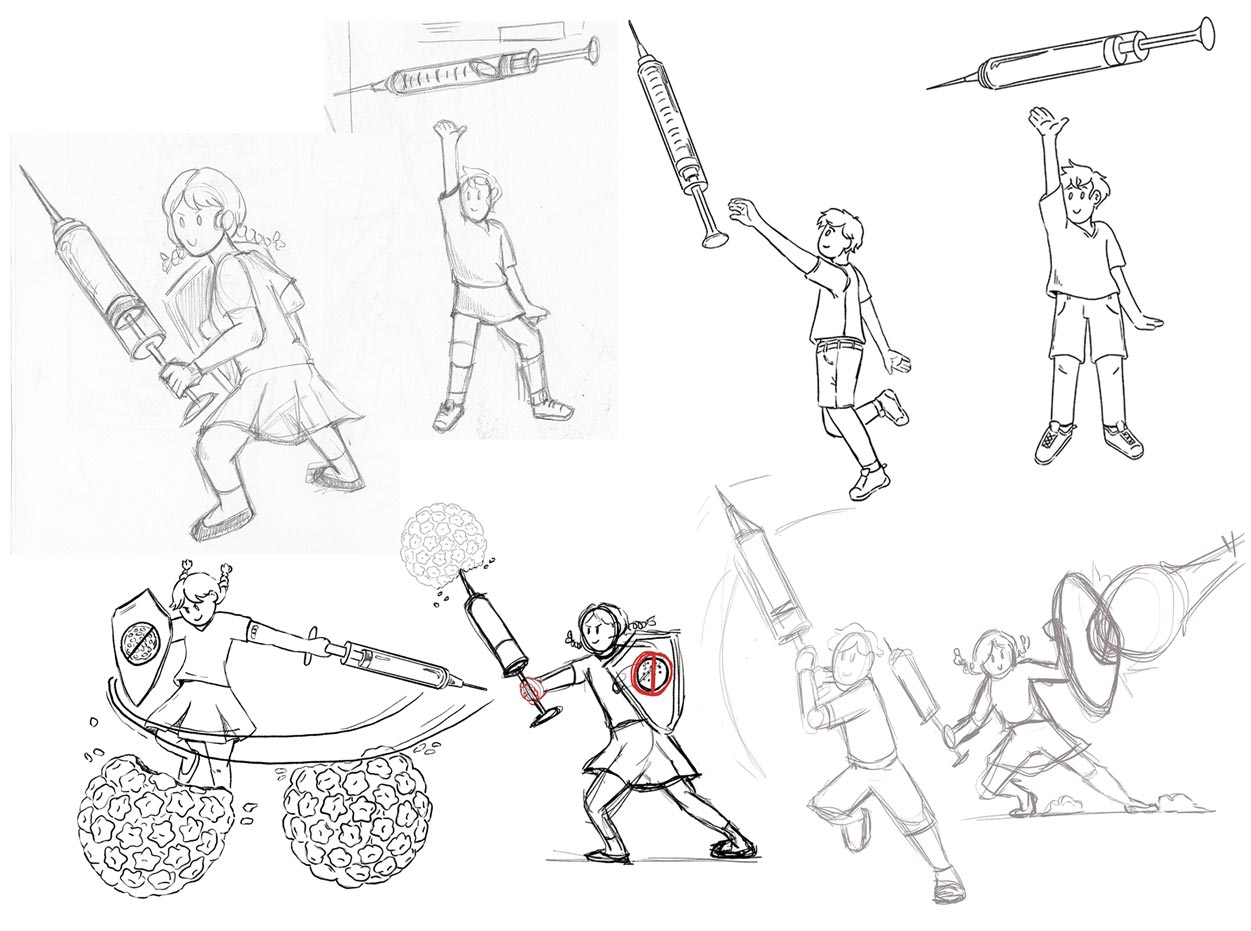 Character Sketches - After a design was settled on for the editorial cover, several character poses were considered to make the scene more dynamic.