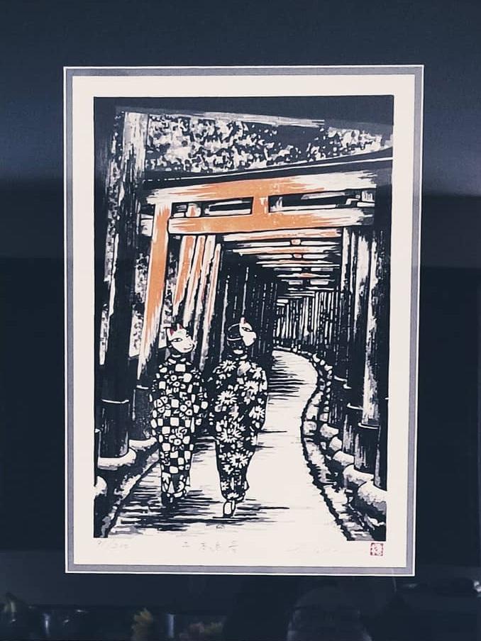 Quirky, Cats, Kimonos and Torri Gates | Japanese Wood Block Print | Framer - Lissa - Hangin' Custom Framing