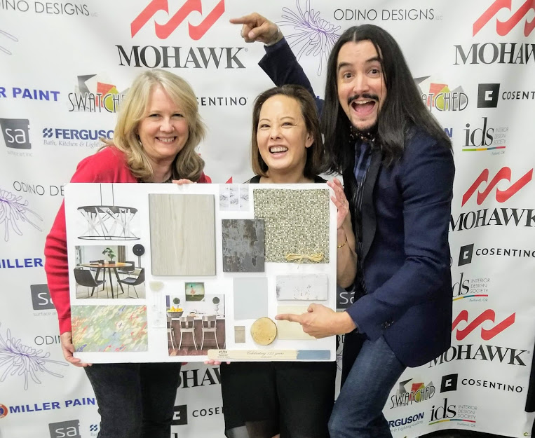 Kitchen mood board design duo winners at SwatchedPDX 2019 at Area Floors  Diana Zapata of Zapata Design LLC, me, David Santiago of Casa Santi Interior Design having a great time!