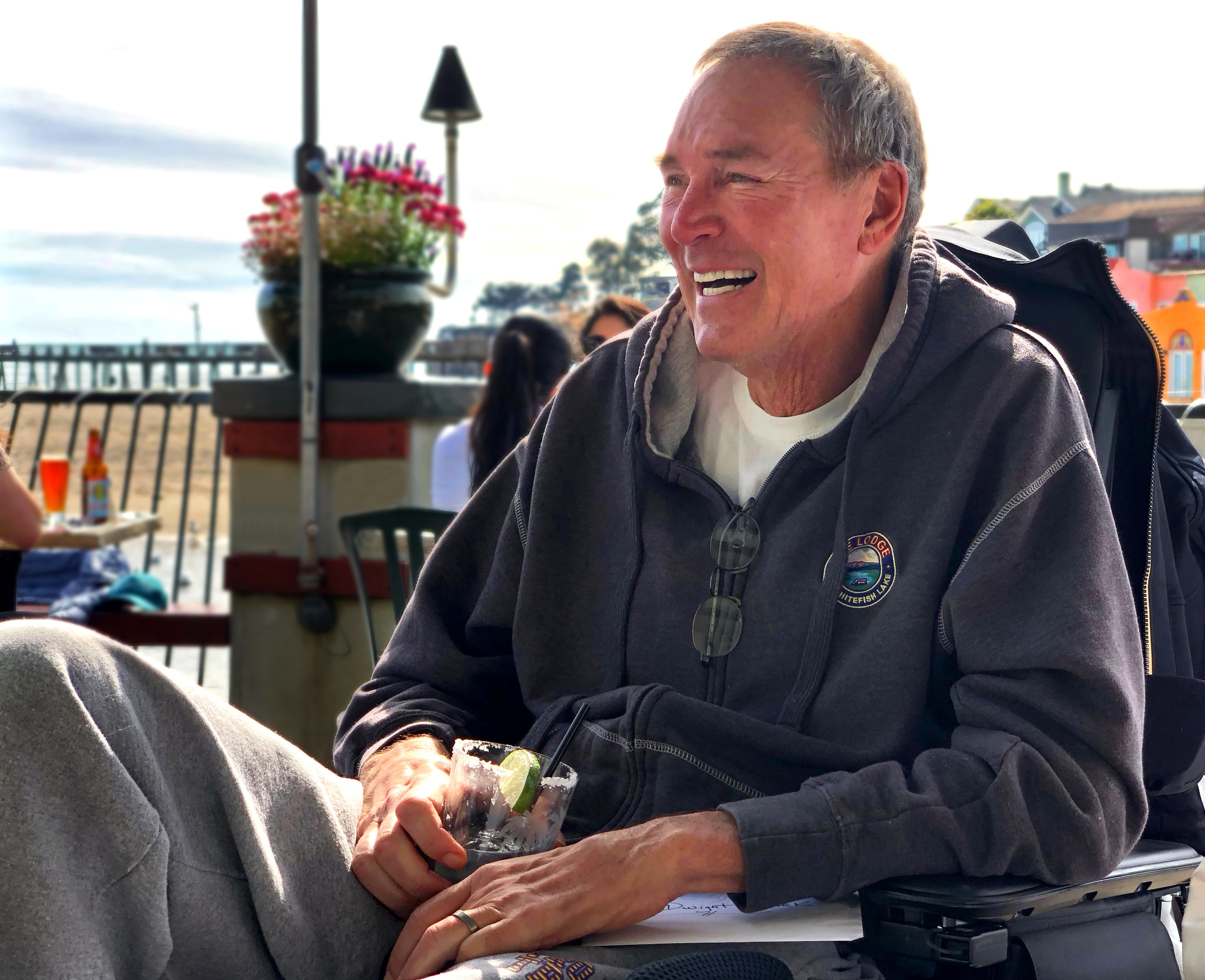 Dwight Clark at lunch with his buddies in Capitola, California, on March 6, 2018.