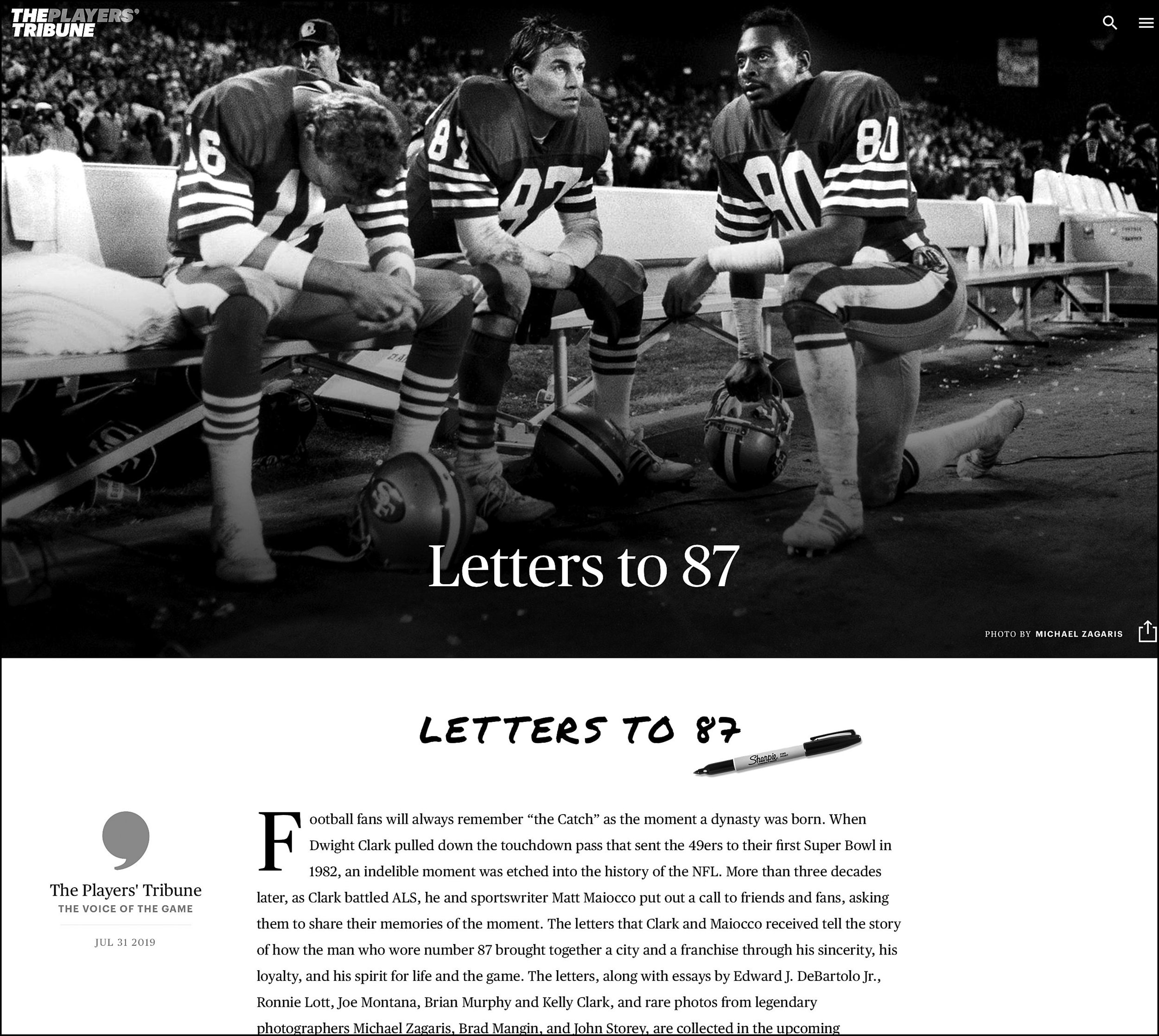 THE PLAYERS' TRIBUNE: Letters to 87 - THE PLAYERS' TRIBUNE shows a glimpse into the Letters to 87 tribute to 49er great Dwight Clark through photographs by Michael Zagaris.