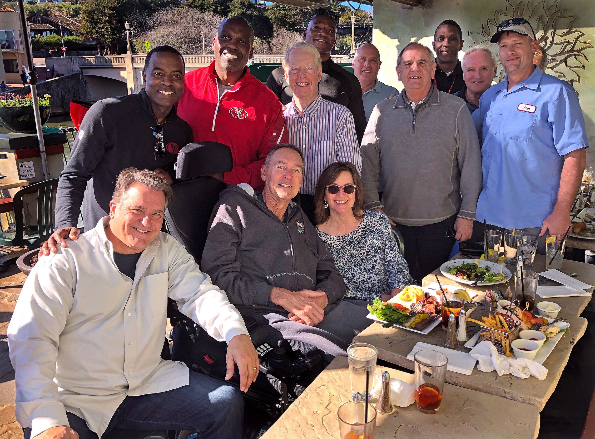 Steve Mariucci and friends have lunch with Dwight Clark at the Paradise Beach Grille in Capitola, California on February 6, 2018.