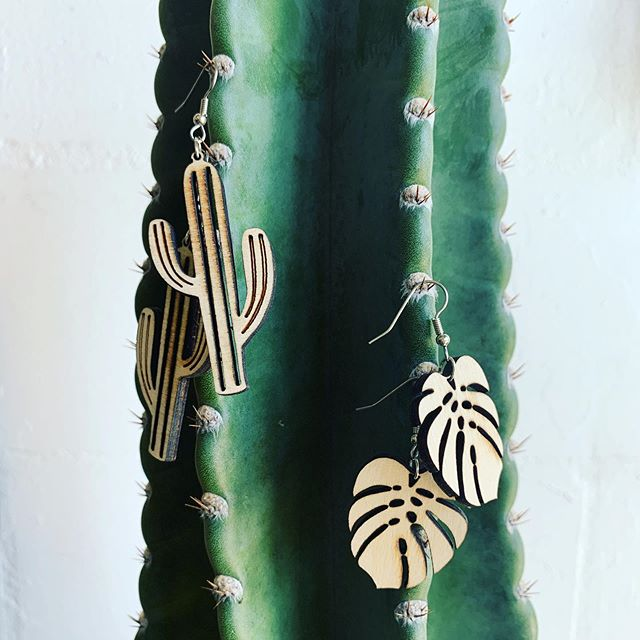 Wood cactus and monstera earrings are back in the shop🌵💕🌿 Made in St. Pete by laser queen @ailaserdesign 🔥