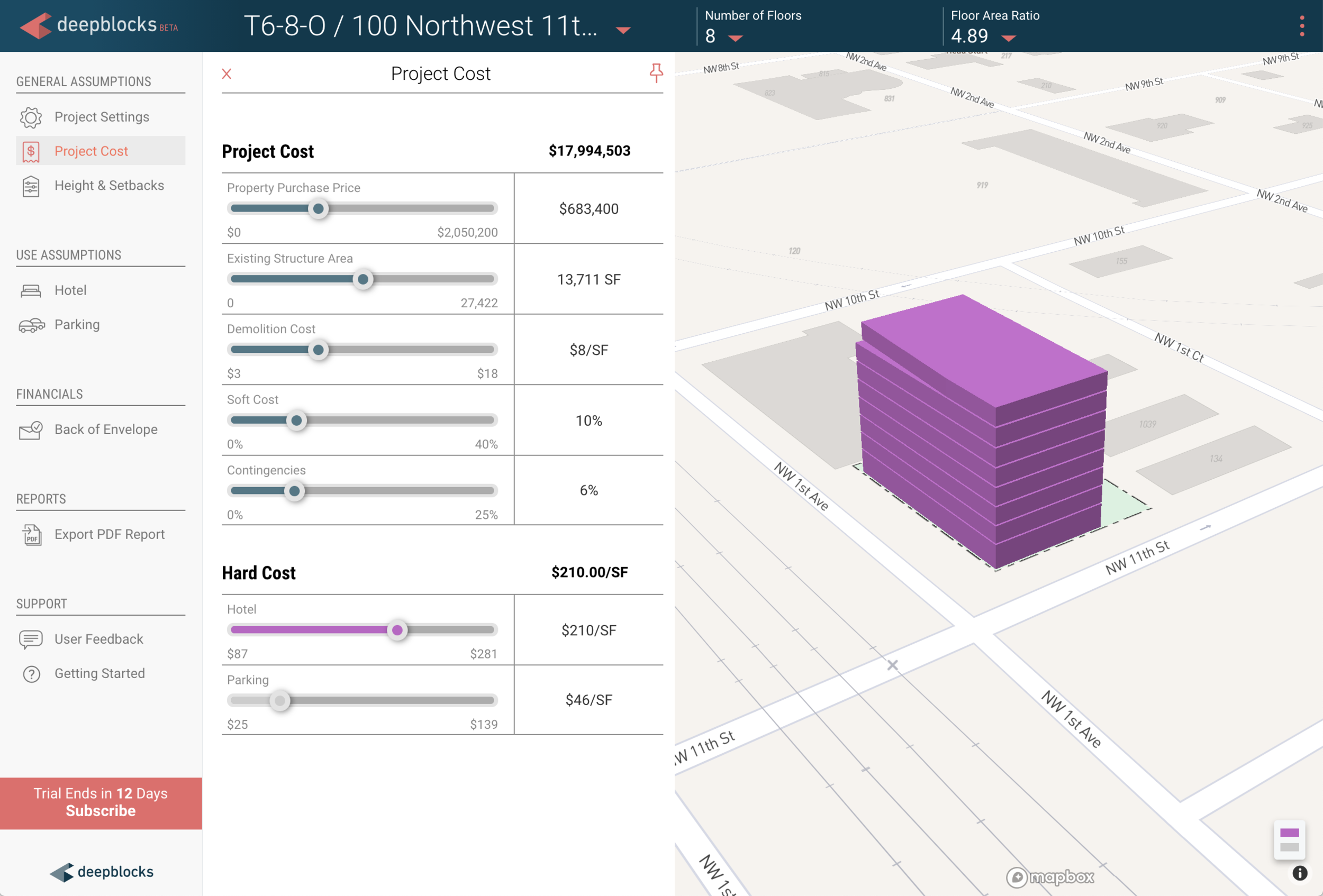 Using    Deepblocks Beta    software to analyze property potential and create feasibility study.