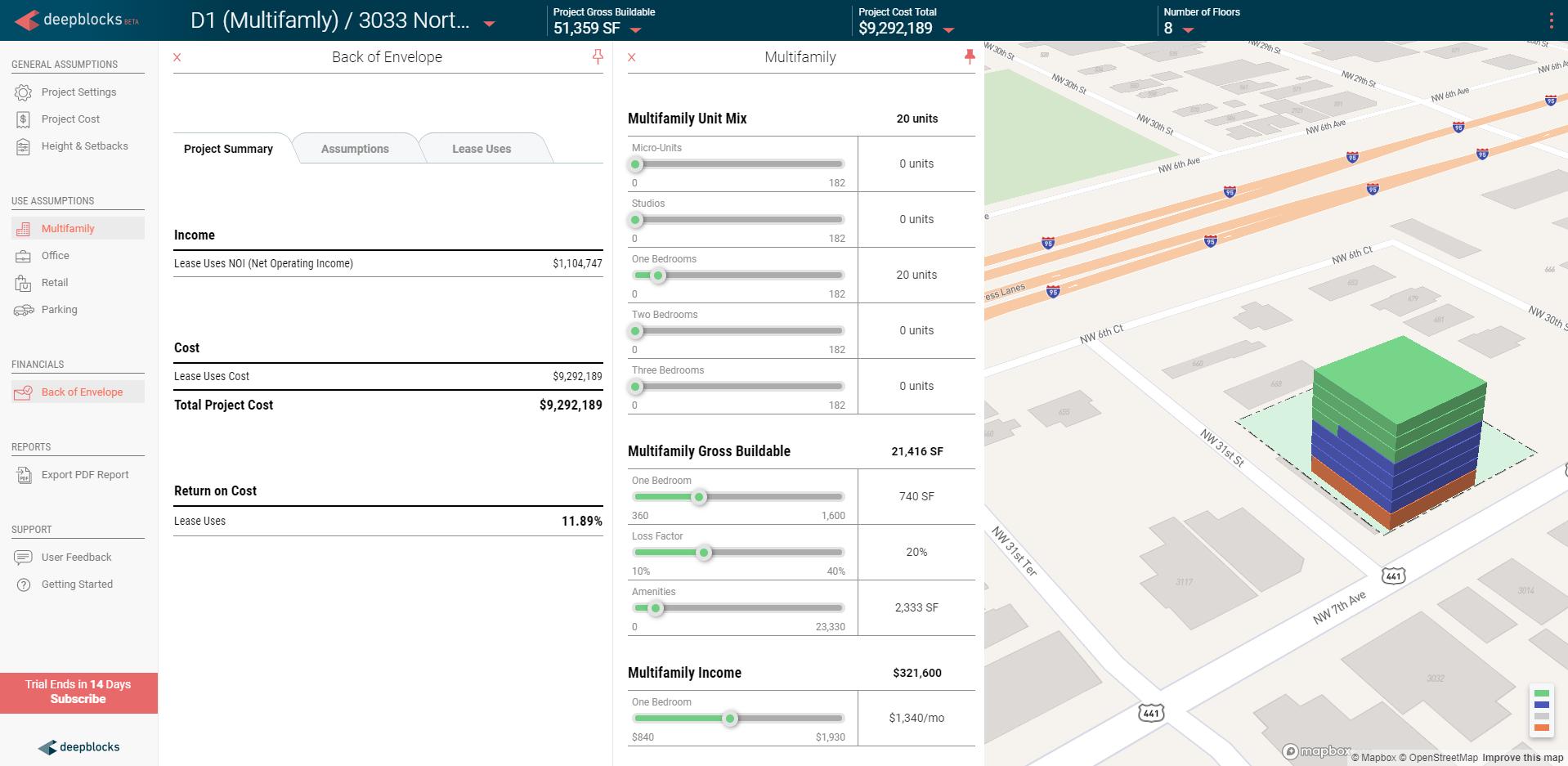 Real Estate analysis using  Deepblocks Beta