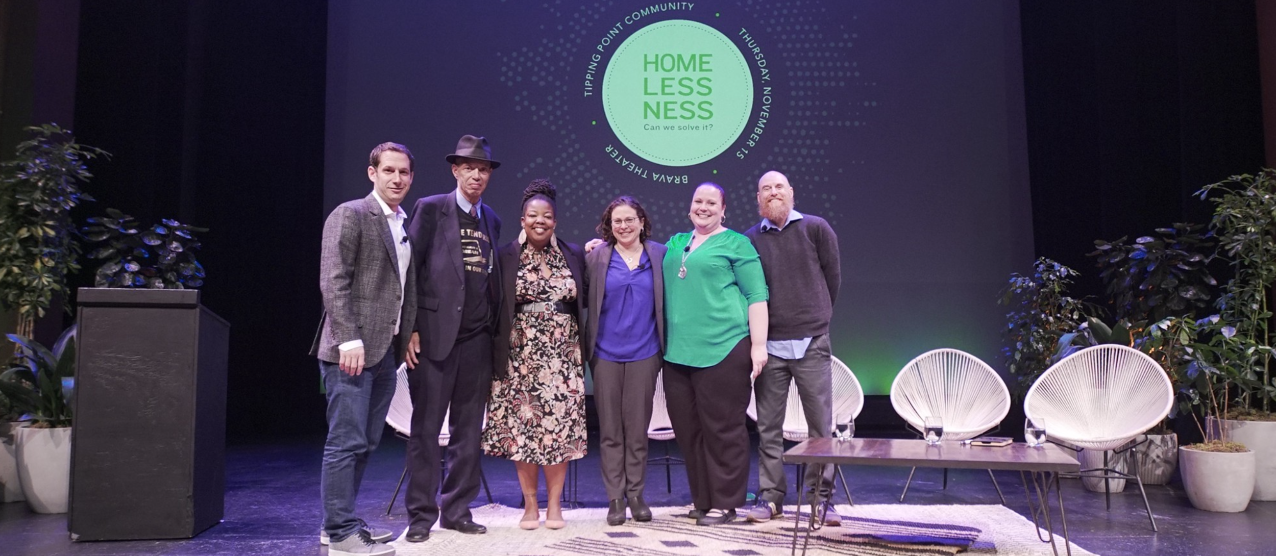 Daniel Lurie, CEO + Founder of Tipping Point; Del Seymour, Founder of Code Tenderloin; Tomiquia Moss, CEO of Hamilton Families; Dr. Margot Kushel, Director of UCSF Center for Vulnerable Populations; Amber Twitchell, Associate Director of On the Move; and Brian Blalock, Director of Law + Policy at Tipping Point