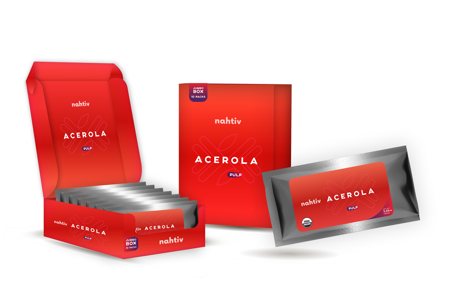 Nahtiv ACEROLA PULP BOX (pack with 30)   Native to Mexico, South America, and Central America, this fruit has been prized for thousands of years by various indigenous cultures. It is widely exported throughout the world. Acerola cherries have a distinct flavor and are eaten in much the same way as regular cherries, although they aren't related.