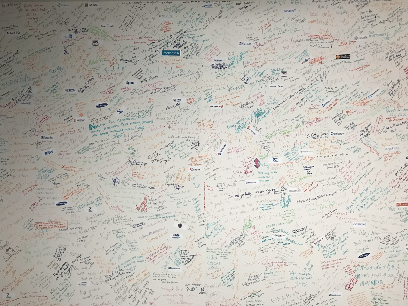 """Micello's infamous """"Thank You"""" signature wall. Can you find your autograph?"""