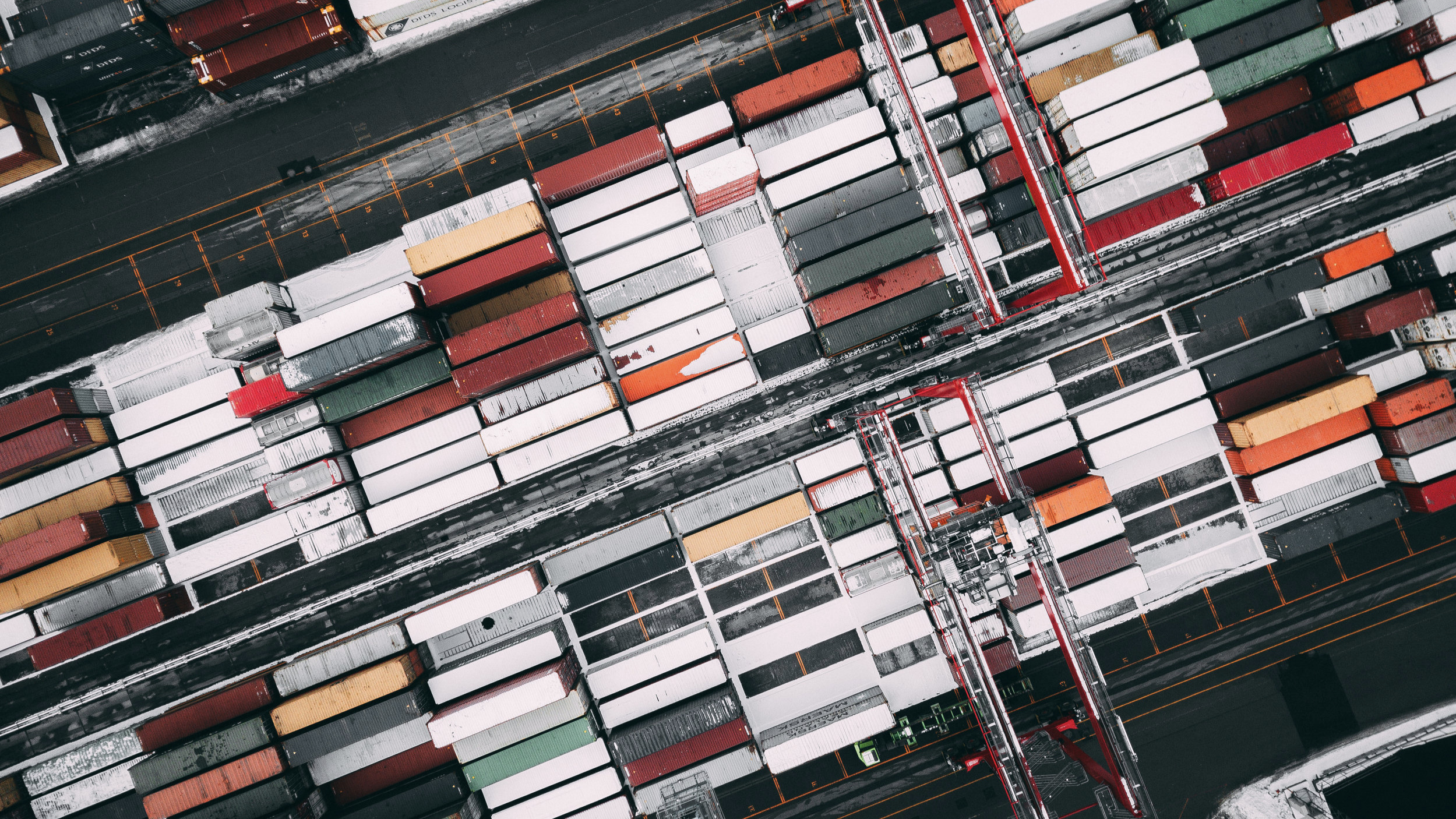 Drone photo of shipping containers.