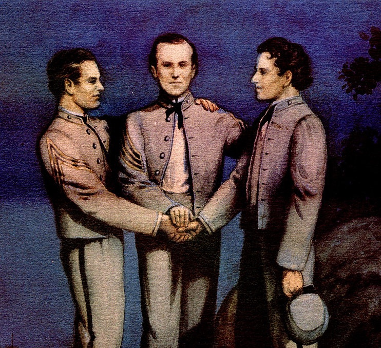 Painting of the Founding of Sigma Nu featuring James Frank Hopkins, Greenfield Quarles, and James McIlvaine Riley.
