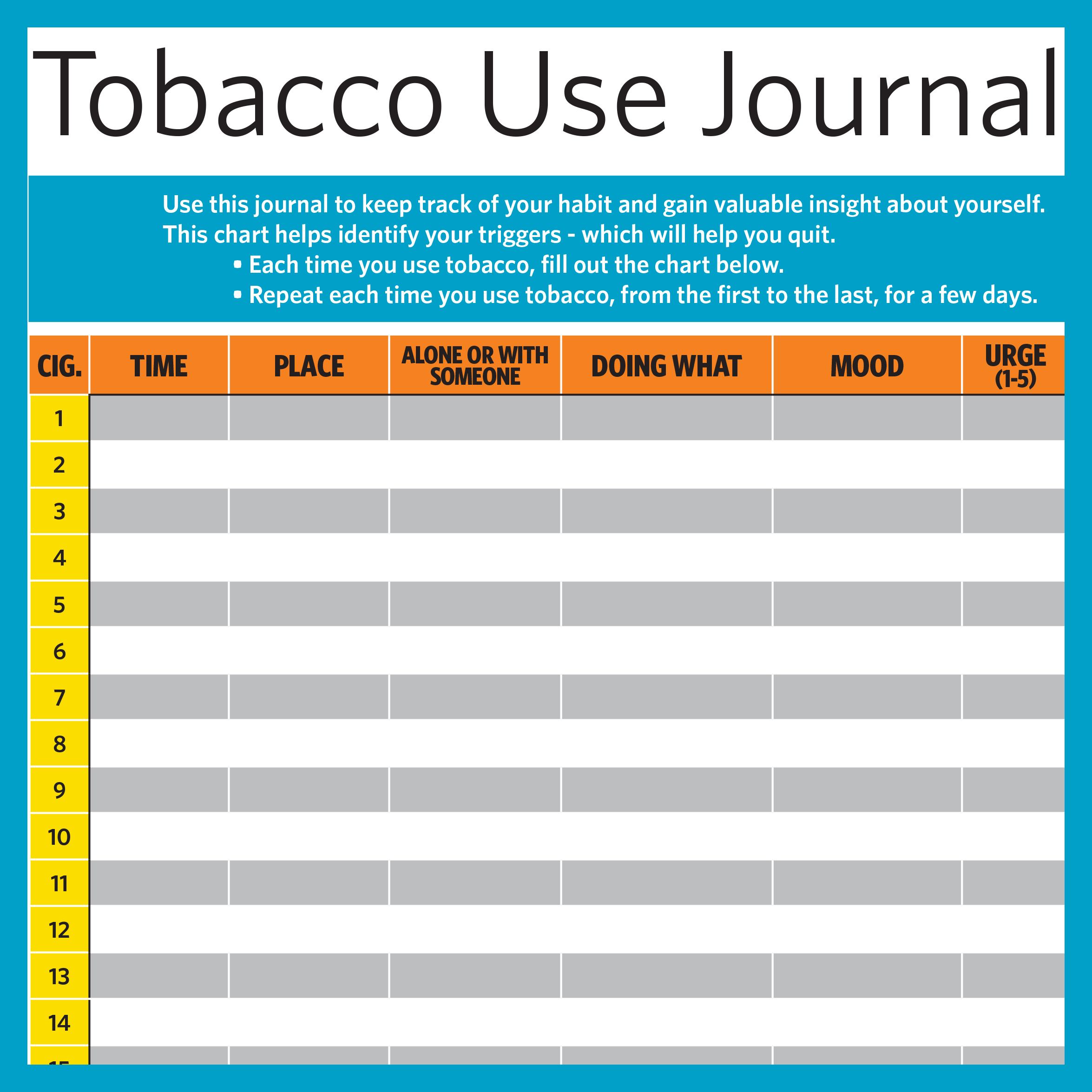 Tobacco Use Journal - Extra journal pages to keep track of your smoking.