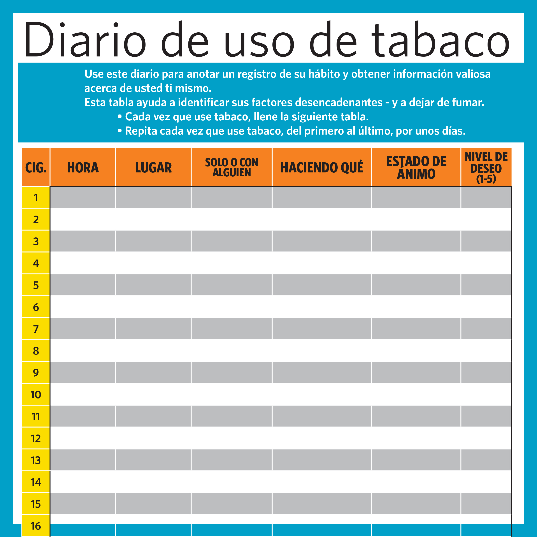 Diario de consumo de tabaco - Páginas adicionales para rastrear su hábito de fumar.