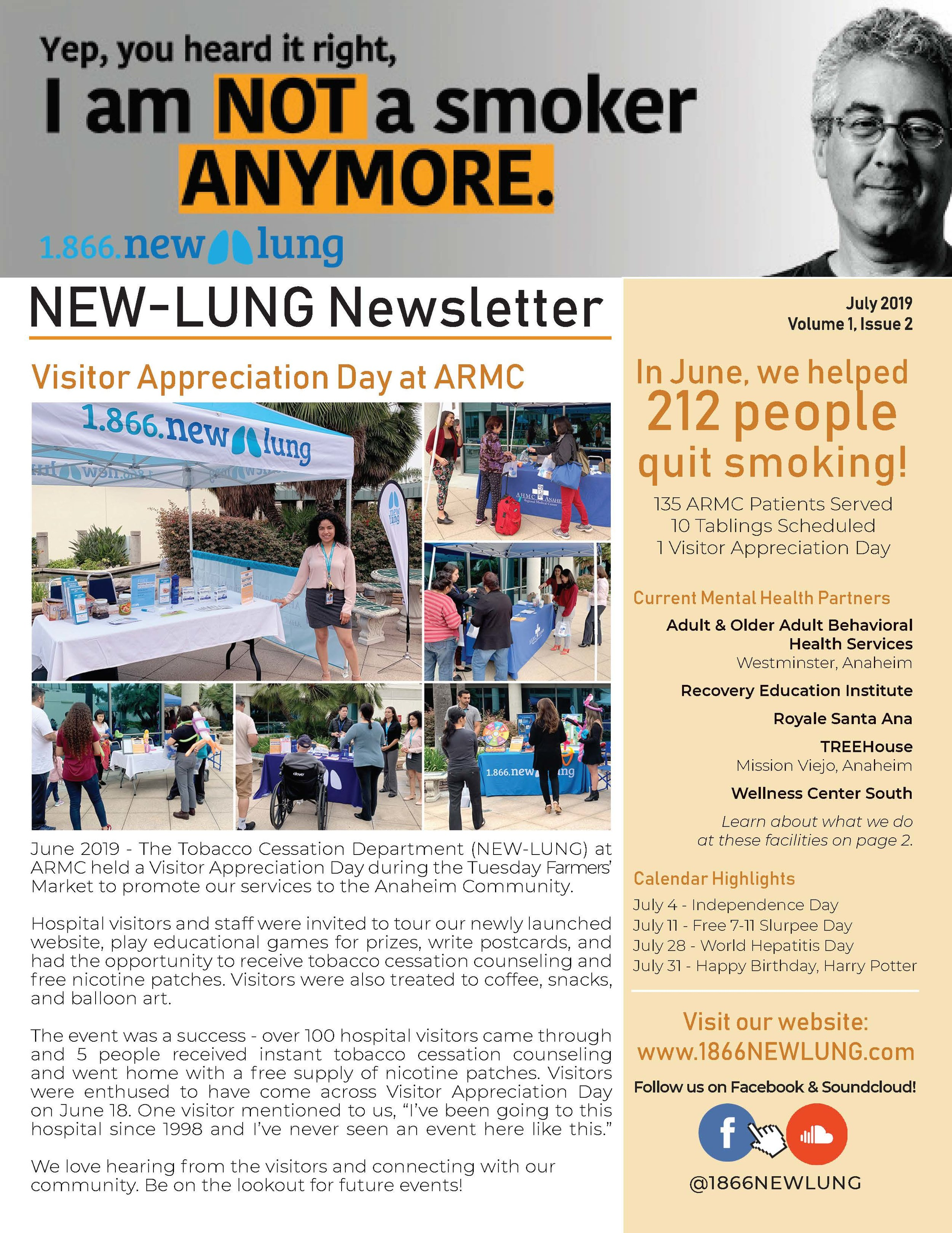 Read the July issue - See what you missed at the ARMC Visitor Appreciation Day.Learn what you can do for a vaping teen.