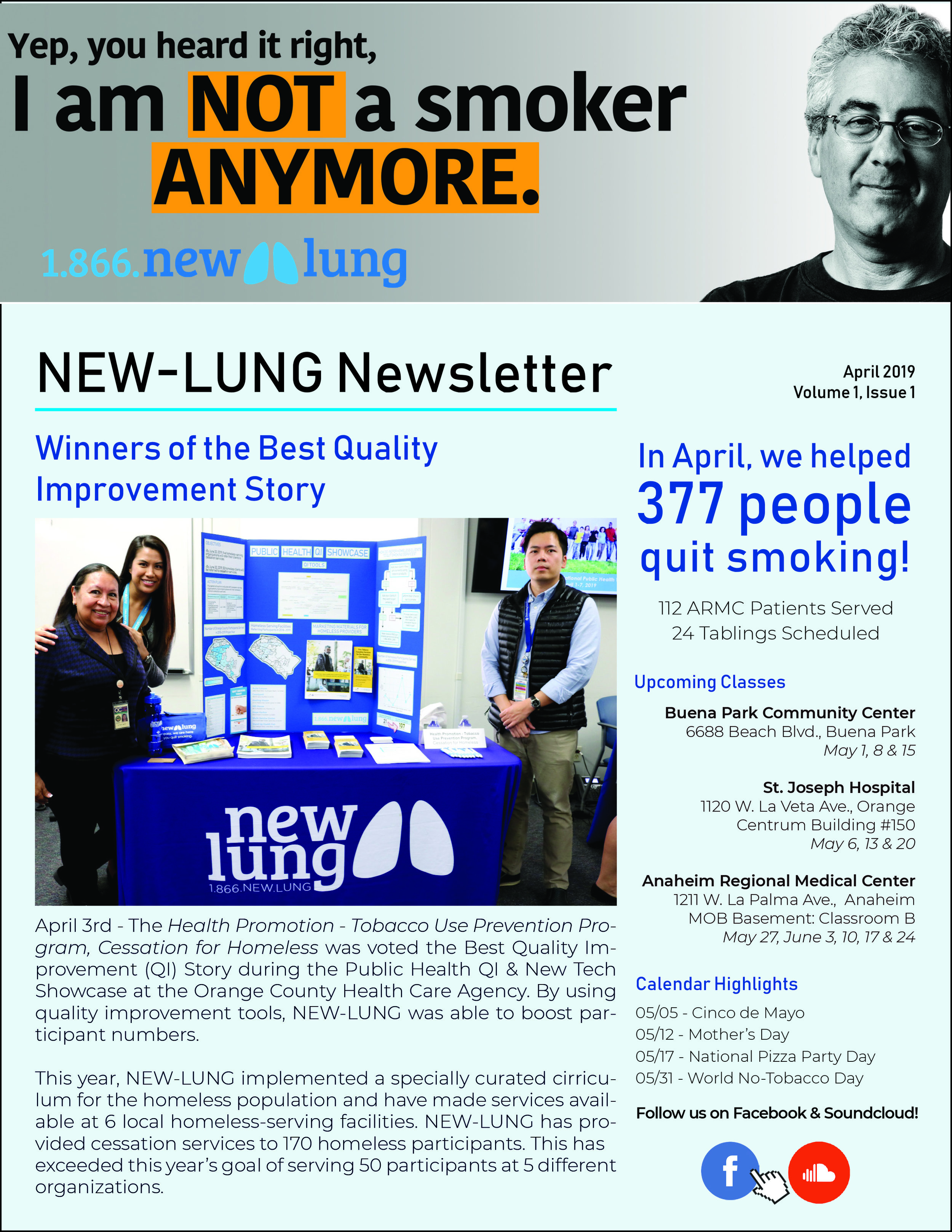 Read the May issue - NEW-LUNG's first newsletter!Read about what we've been up to.