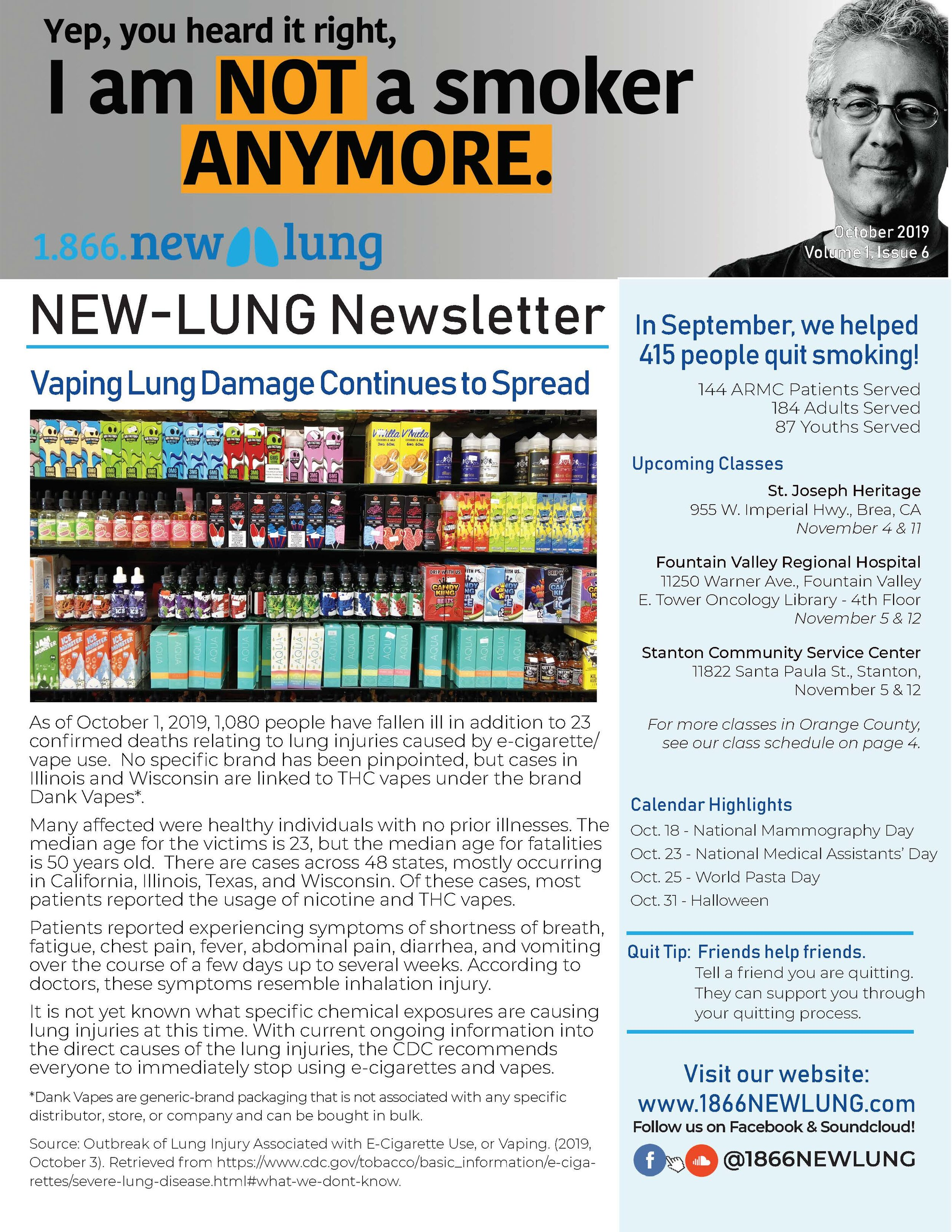 Read the October Issue - Read about how your lungs may be affected by vaping.Learn more about what scientists are learning about vaping in a new landmark study.