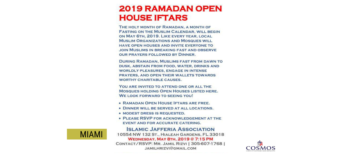 Open Houses During the Month of Ramadan — 10 Days of Connection
