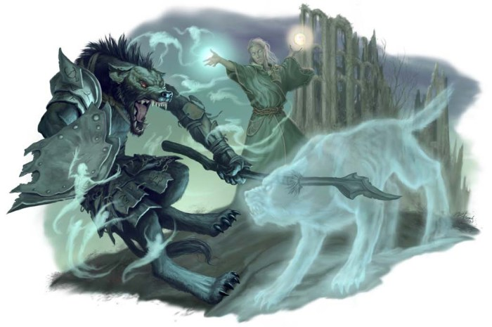See, this guy is trying to be cool with a ghostly wolf. He should try just a plate of tasty food…