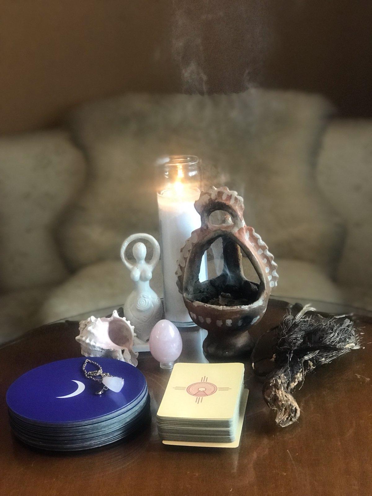 energy healing bundle with Tarot cards candle pendulum .jpeg