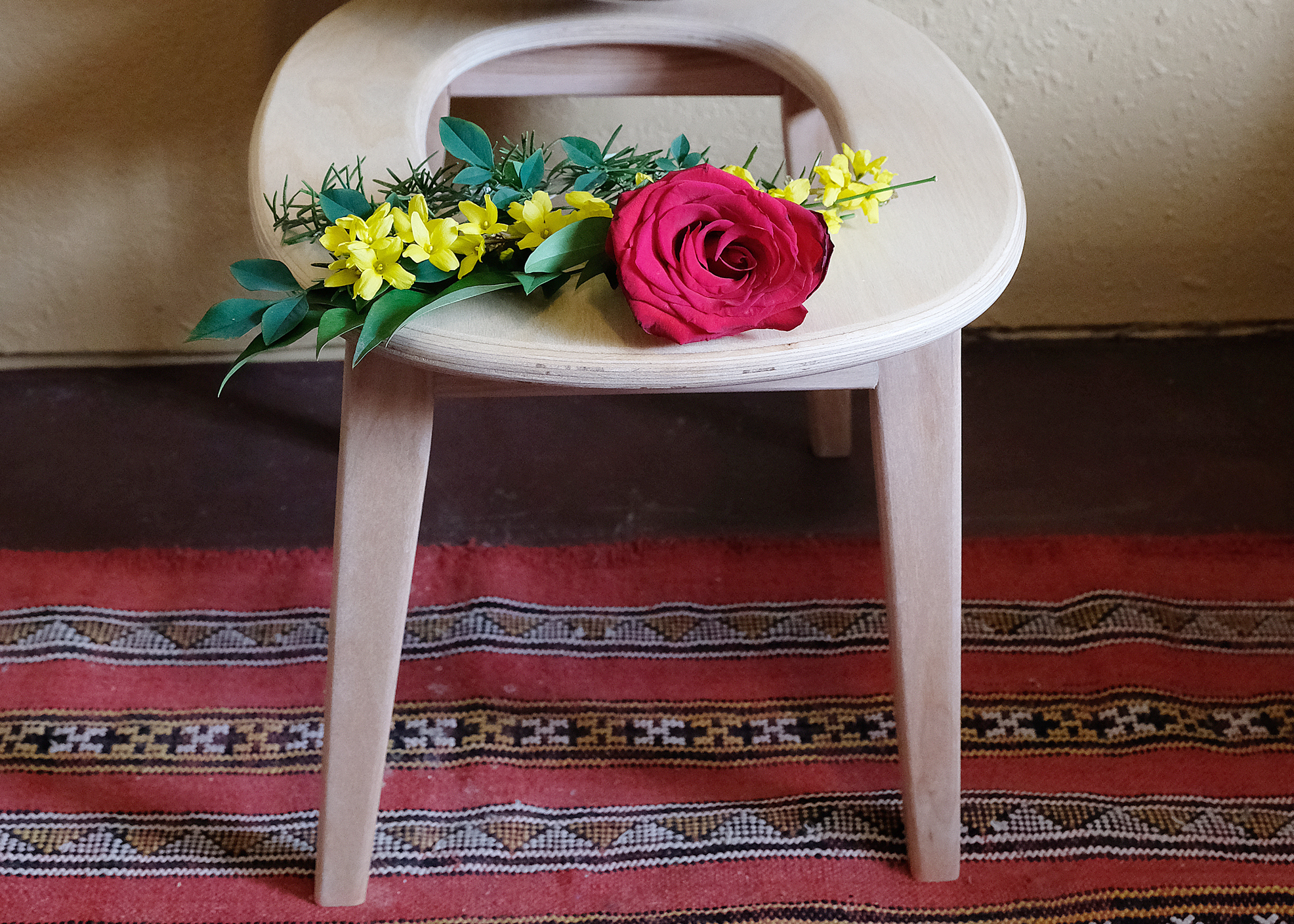 divine feminine energy healing with flowers and steam stool