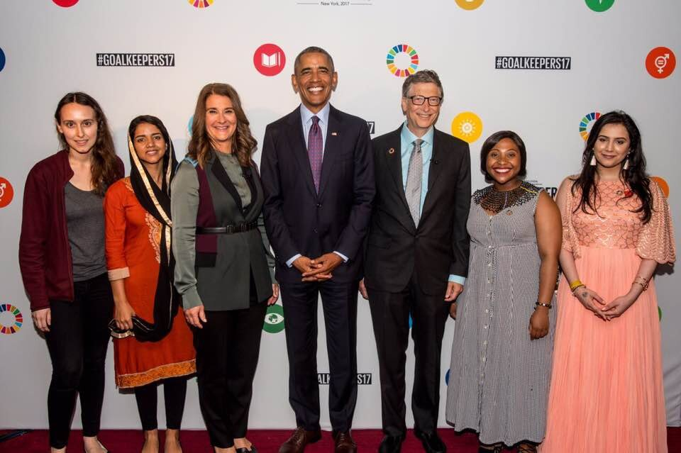 Ria Sharma (far right) after winning the 2017 United Nations Global Goals Awards from the Bill and Melinda Gates Foundation