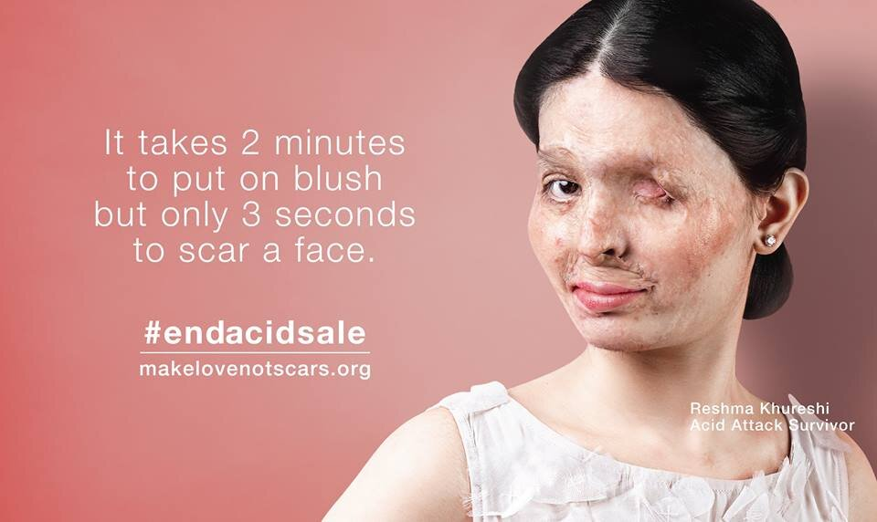 Make Love Not Scars promotion featuring acid attack survivor Reshma Qureshi