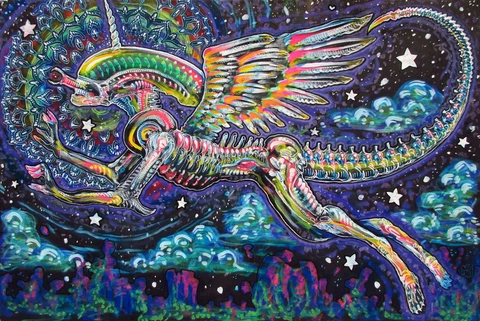 """They Only Come Out At Night, Mostly...Mostly"" (Xenomorph Unicorn Pegasus)"