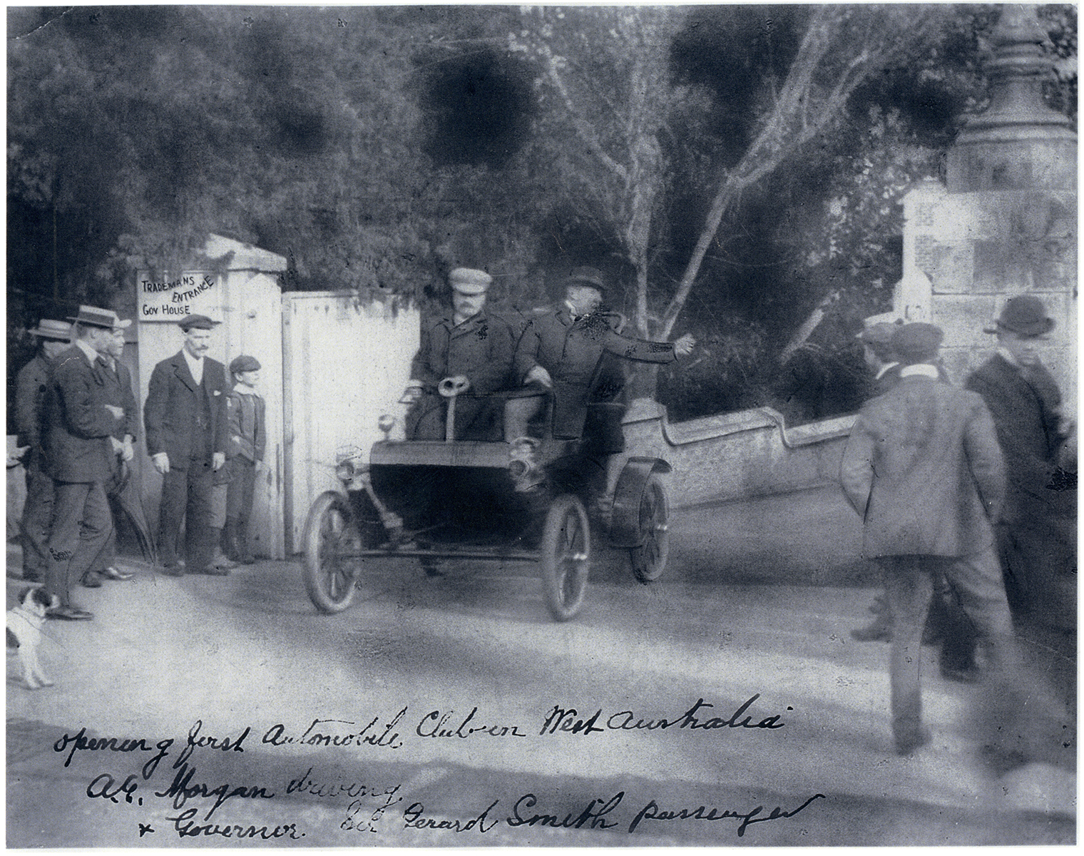 The first Club run, 1 July 1905.    The Governor, Admiral Sir Frederick Bedford GCB (not Sir Gerard Smith), in Club President Alfred Morgans' 1903 'curved dash' Oldsmobile, at the start of the Automobile Club of Western Australia's first run, Saturday 1 July 1905. Courtesy RAC Archives.