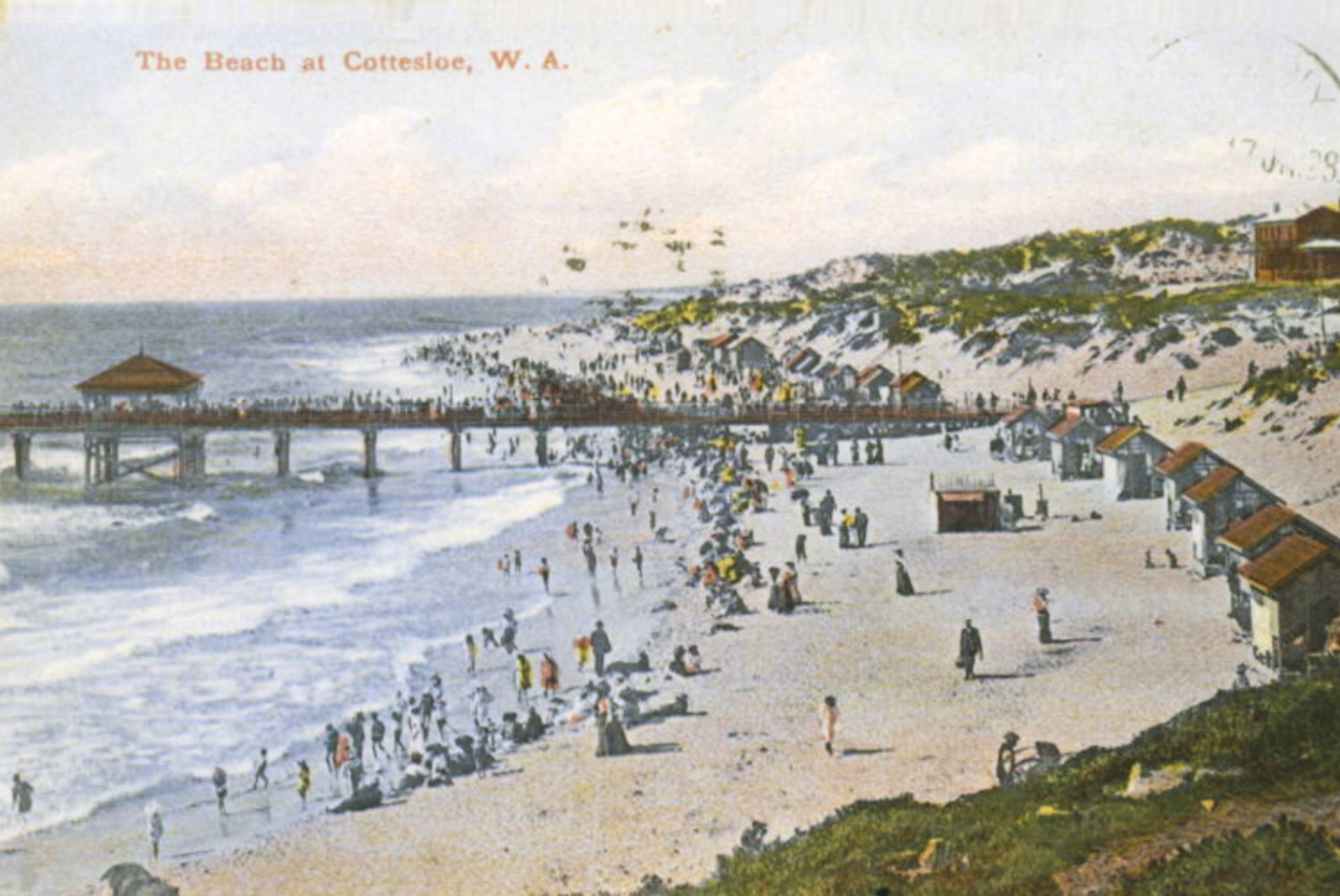 A postcard depicting Cottesloe Beach in 1908, and the recently opened jetty. Courtesy The Grove Library.