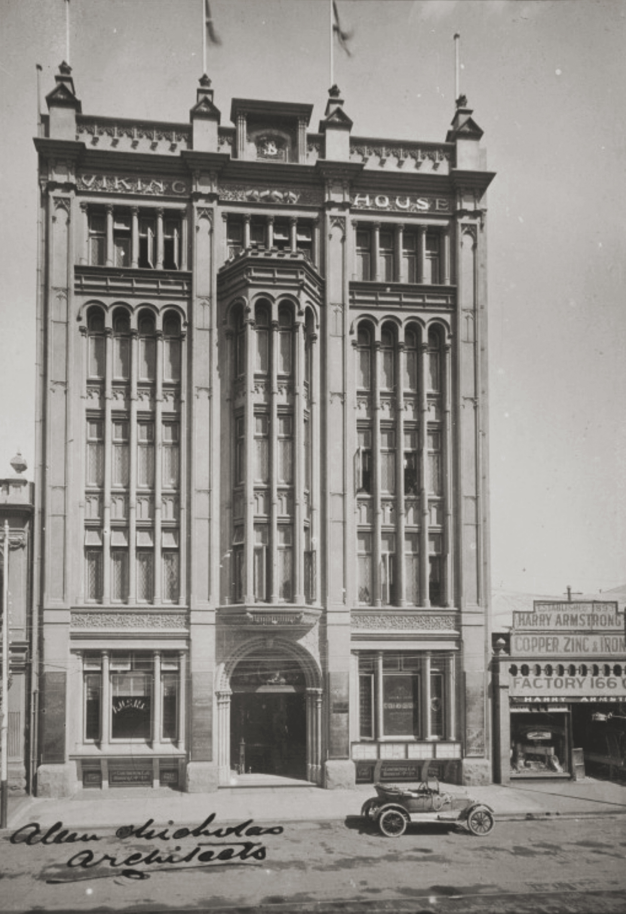 Viking House, 49 William Street, Perth. Built in 1912 by Richard Strelitz, demolished in 1970. Courtesy State Library of Western Australia, image b1967383_2