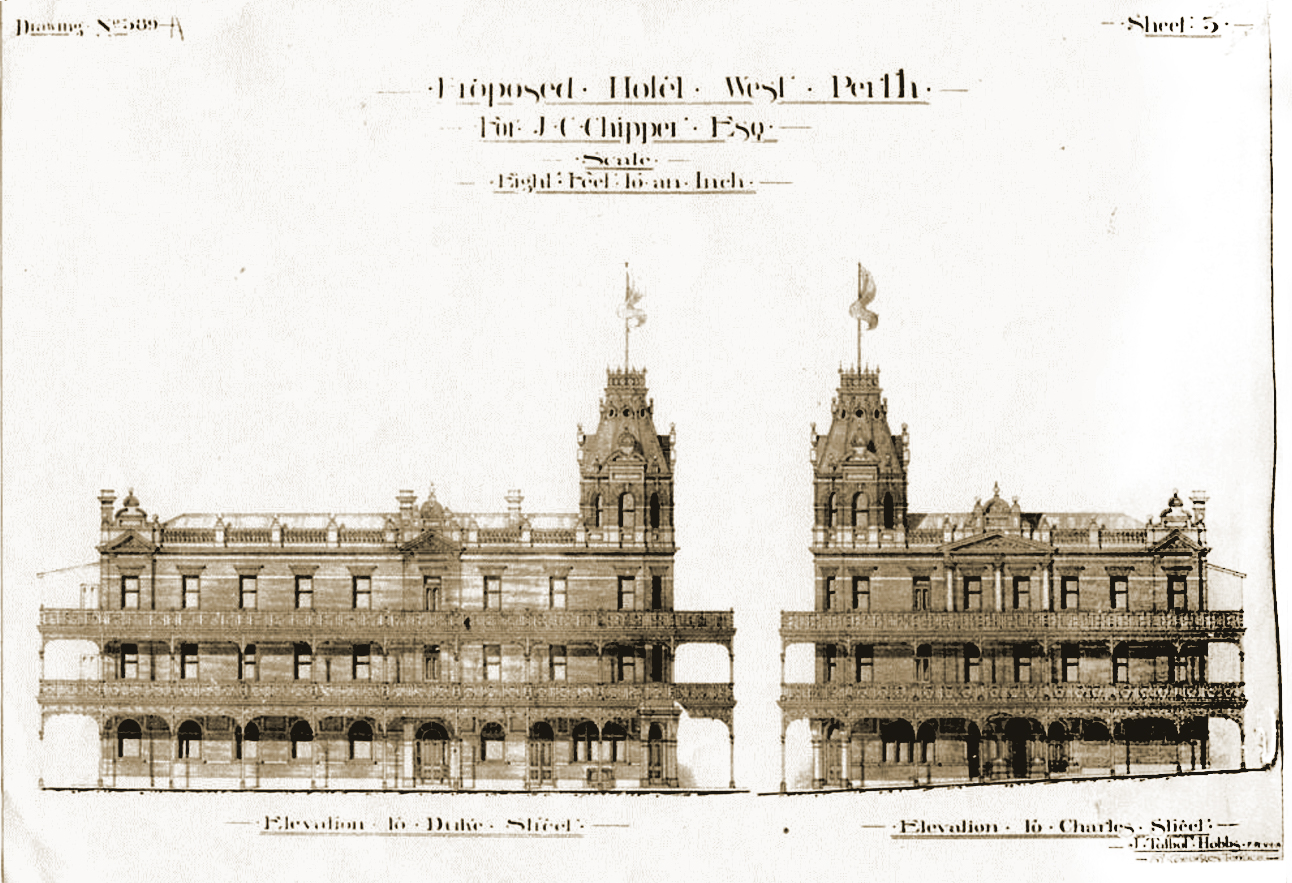 The magnificent Club Hotel, designed by J J Talbot Hobbs and built for John Chipper in 1898, showing elevations from Duke and Charles Streets, Perth. Courtesy of City of Vincent Local History Collection, image PH03277.