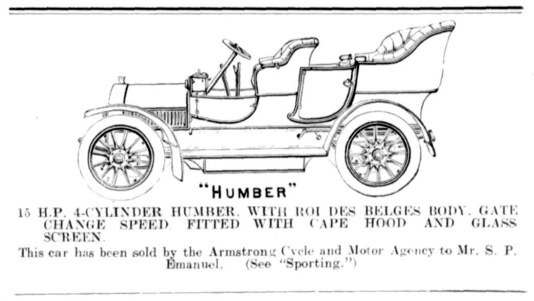 The purchase of Sydney Emanuel's Humber in the Western Mail, 19 October 1907.
