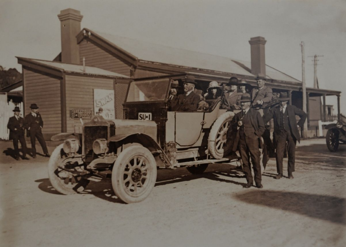 Percy Bignell driving the WA government Standard at Busselton station c1919