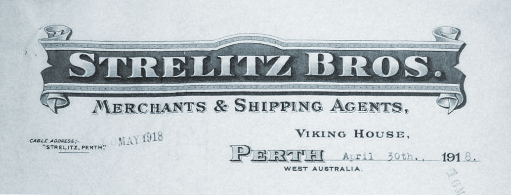 Strelitz Brothers letterhead, dated May 1918. Courtesy National Archives of Australia.