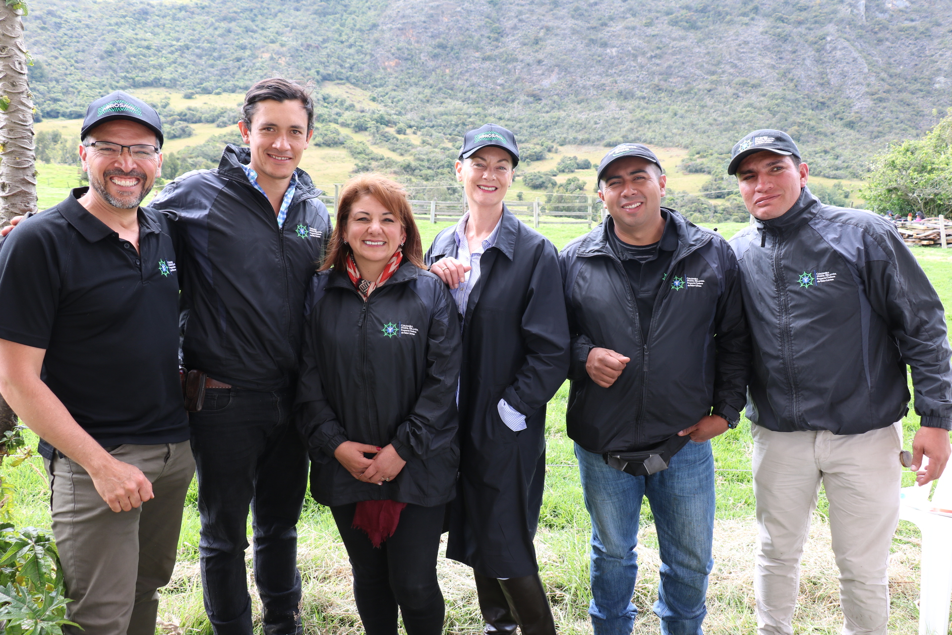 Our team in Colombia: Juan, Carlos, Giovanna, NZ Ambassador Lucy Duncan, Jesus, Camilo