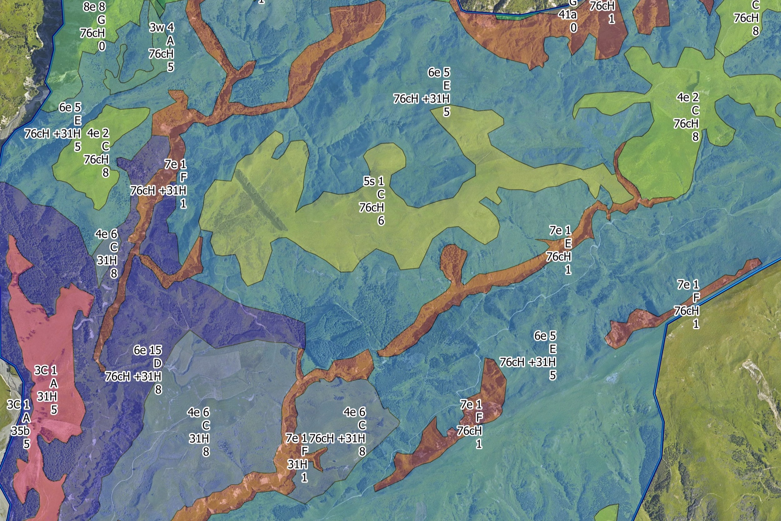 A completed land use capability map, showing slopes, soil types and potential carrying capacities.