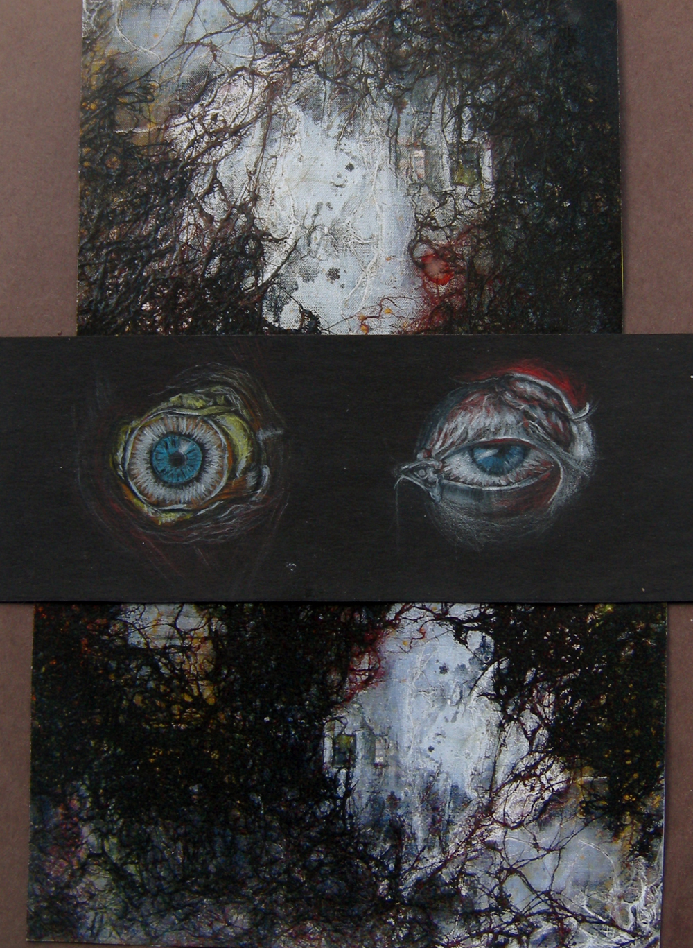 "Eyes / 2012 / combination of drawing and ""No Fear"" painting / 11.8 x 9 inches / 30 x 23 cm"