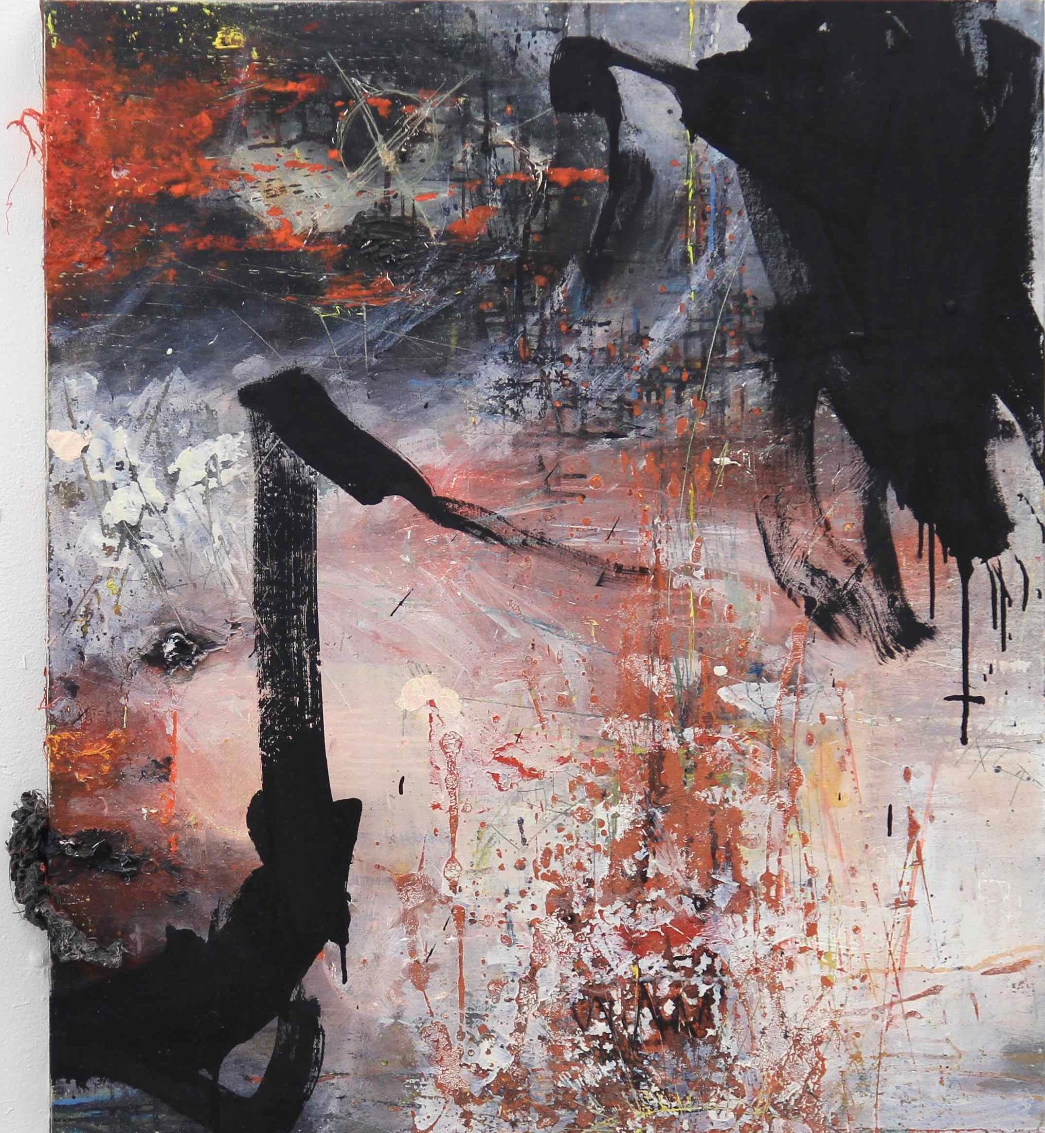 Early mo(u)rning / 2012 / acrylic, oil, thread on panel / 35.43 x 31.5 inches / 90 x 80 cm