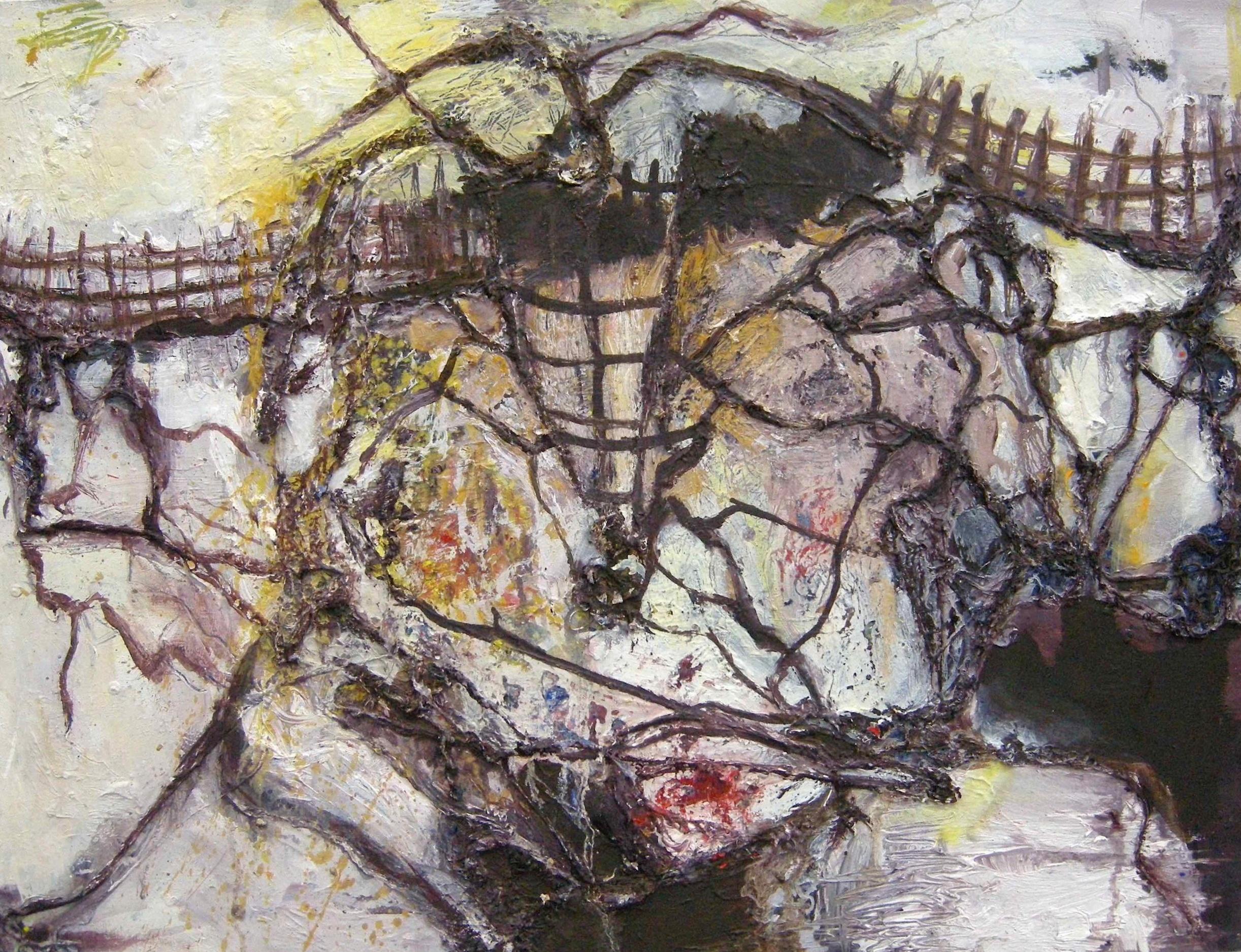 Silta / 2009 / oil, thread on panel / 18.3 x 24 inches / 46.5 x 61 cm