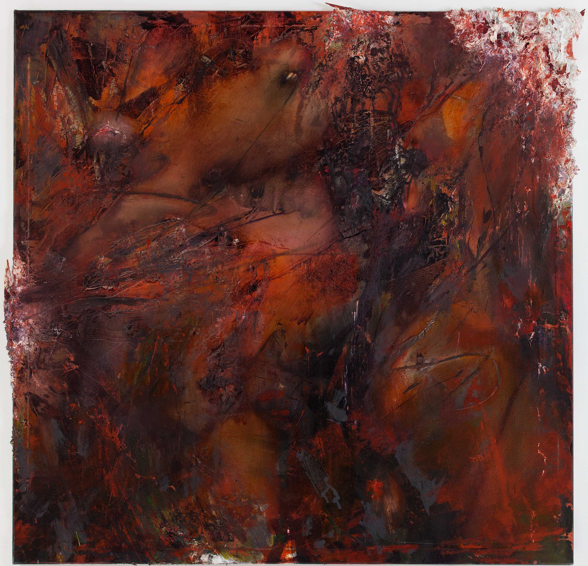 Rusty Pipes / 2012 / acrylic, wood, oil on canvas / 55 x 55 inches / 140 x 140 cm