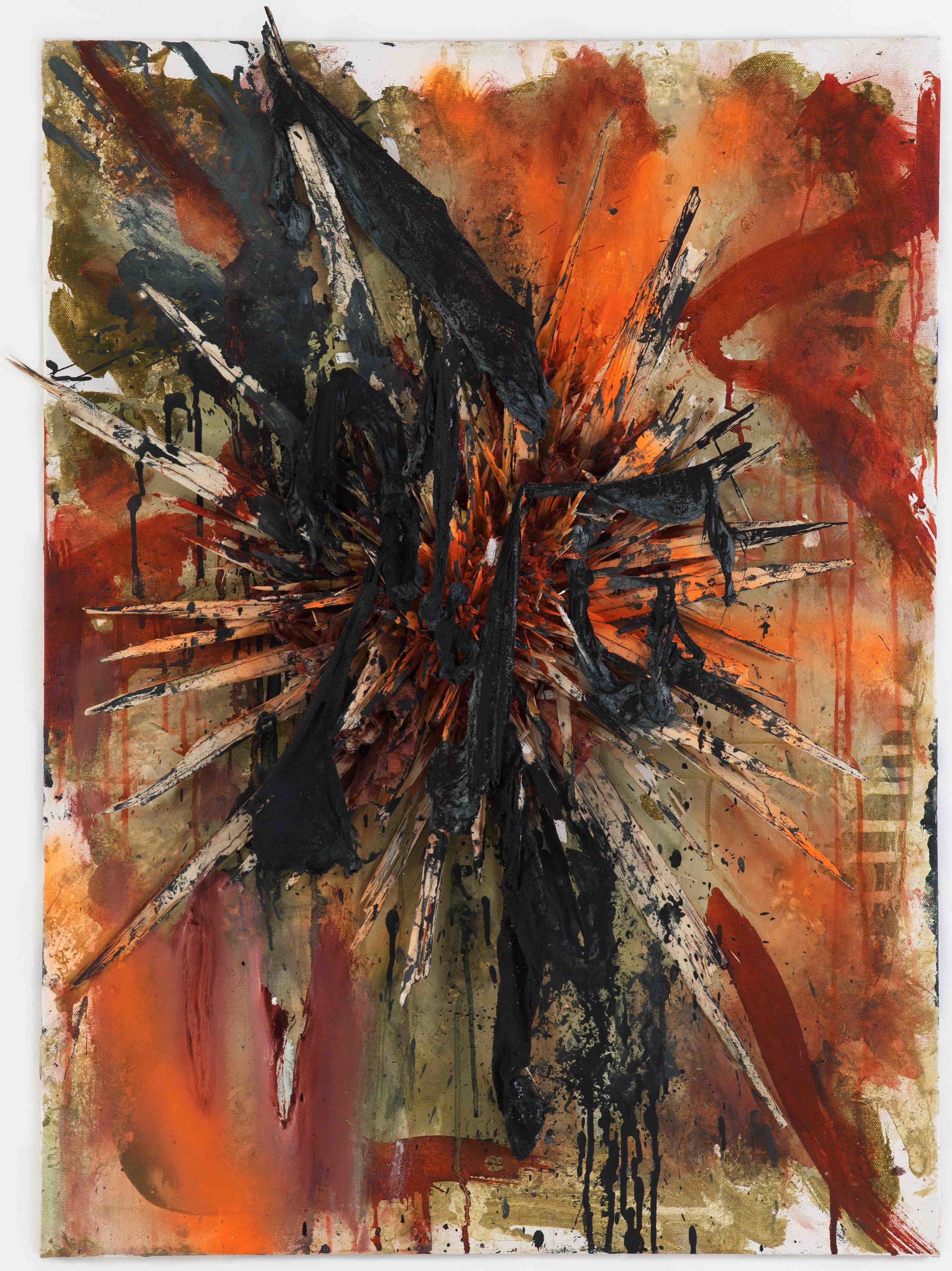 No Harm Done / 2012 / acrylic, spray, ink, wood, plaster on canvas / 39.37 x 28.74 inches / 100 x 73 cm